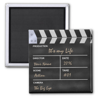 """Clapperboard cinema """"It's my Life"""" Square Magnet"""