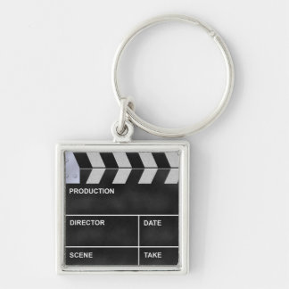 clapperboard cinema Silver-Colored square keychain
