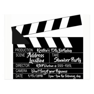 Clapperboard Postcard Personalized Invitation