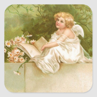 Clapsaddle: Angel with Book and Flowers Square Sticker