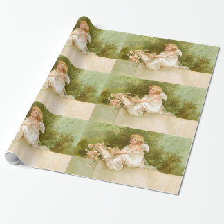 Clapsaddle: Angel with Book and Flowers Wrapping Paper