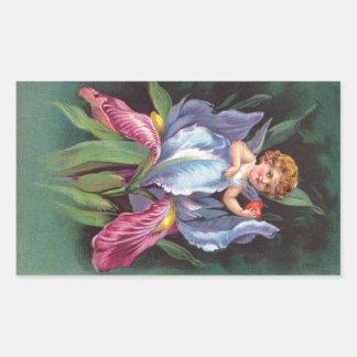 Clapsaddle: Flower Cherub Iris Rectangular Sticker