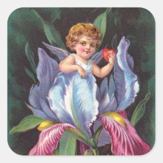 Clapsaddle: Flower Cherub Iris Square Stickers
