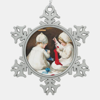 Clapsaddle: Girls Stitching Stockings Snowflake Pewter Christmas Ornament