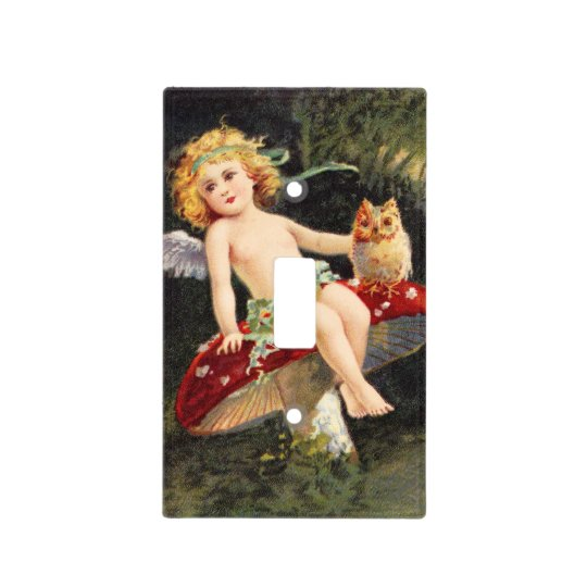 Clapsaddle: Little Cherub on Mushroom Light Switch Cover