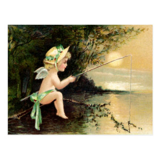 Clapsaddle: Little Cherub with Fishing Rod Postcard