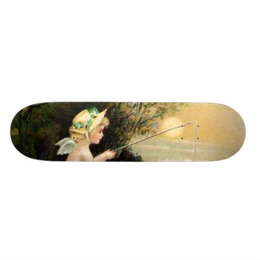 Clapsaddle: Little Cherub with Fishing Rod Skate Board Decks