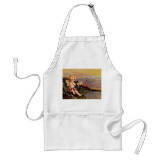 Clapsaddle: Little Cherub with Flute and Birds Standard Apron