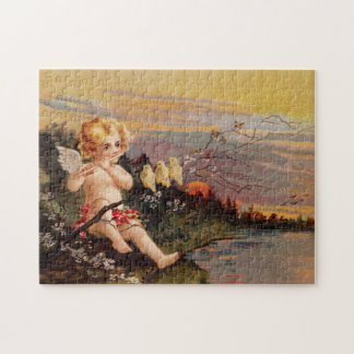 Clapsaddle: Little Cherub with Flute and Birds Jigsaw Puzzle