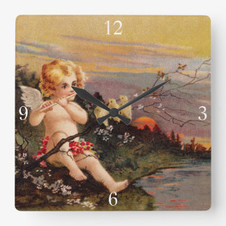 Clapsaddle: Little Cherub with Flute and Birds Square Wall Clock