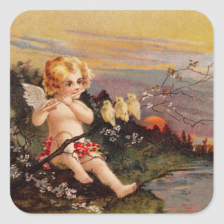 Clapsaddle: Little Cherub with Flute and Birds Square Sticker