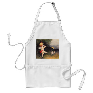 Clapsaddle: Little Cherub with Flute Adult Apron