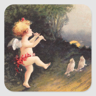 Clapsaddle: Little Cherub with Flute Square Stickers