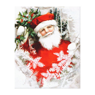 Clapsaddle Santa Claus with Holly Stretched Canvas Print