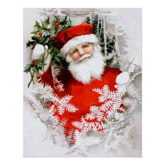 Clapsaddle: Santa Claus with Holly Poster
