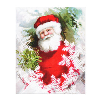 Clapsaddle: Santa Claus with Mistletoe Stretched Canvas Print