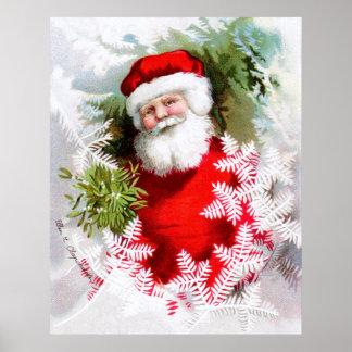 Clapsaddle: Santa Claus with Mistletoe Print