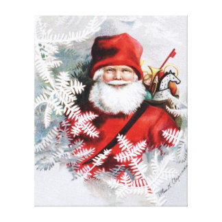 Clapsaddle: Santa Claus with Toys and Fir Twigs Stretched Canvas Print