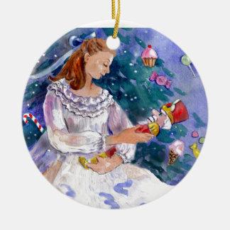 Clara and the Nutcracker Round Ceramic Ornament