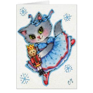 Clara - chat mignon de Noël de casse-noix Carte