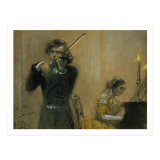 Clara Schumann (1819-96) and a Violinist, 1854 (pa Postcard