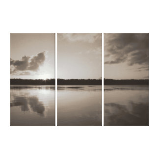 Clarence River Sunset in sepia 3 panel. Canvas Print
