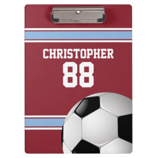 Claret and Blue Stripes Jersey Soccer Ball Clipboard