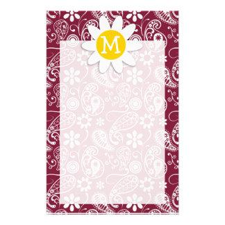 Claret Paisley; Floral; Daisy Custom Stationery