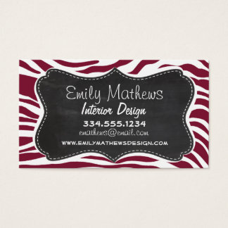Claret Zebra Stripes Animal Print; Chalkboard look Business Card