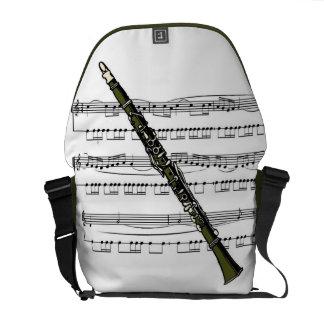 Clarinet 09B w/Sheet Music Background ~ Rickshaw M Courier Bag