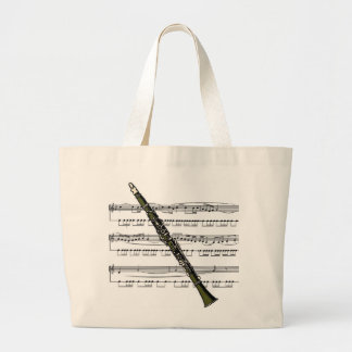 Clarinet 09B W/Sheet Music Background Tote Bag