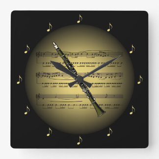 Clarinet 3-D Gold Globe ~ Sheet Music ~ Black BG ~ Square Wall Clock