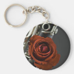 Clarinet and Red Rose Keychain