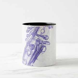 Clarinet Blue Drawing Coffee Mug