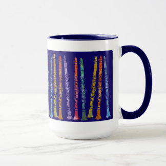 Clarinet Crayons on Blue Mug