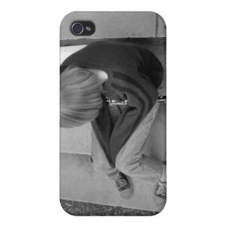 Clarinet Girl Player on Steps with Tuner and Music iPhone 4 Cover