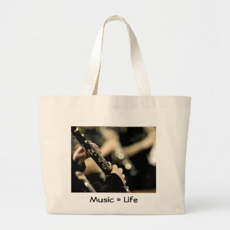 Clarinet - Music = Life Large Tote Bag
