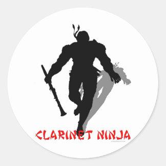 Clarinet Ninja Classic Round Sticker