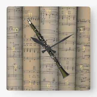 Clarinet  ~ Rolled Sheet Music Background ~ Music Square Wall Clock