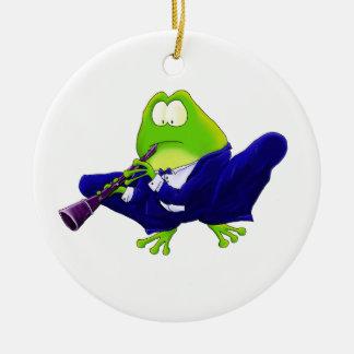 Clarinet Solo Frog Ceramic Ornament