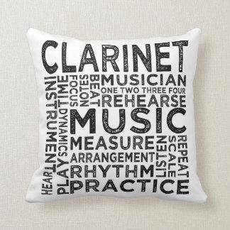 Clarinet Typography Throw Pillow