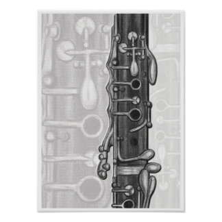 Clarinet Upper Joint in Charcoal Music Art Print