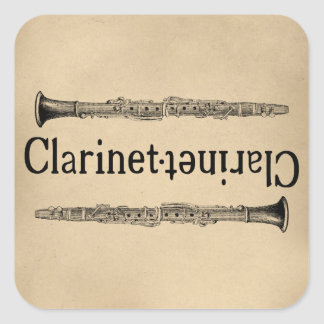 Clarinet Vintage Square Sticker