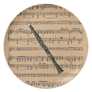 Clarinet With Sheet Music Background Plates