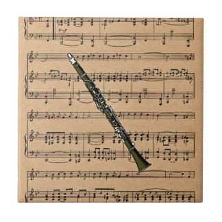 Clarinet With Sheet Music Background Tile