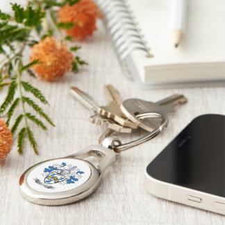 Clark Coat of Arms Silver-Colored Oval Keychain