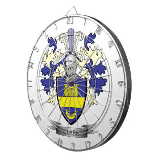 Clark Family Crest Coat of Arms Dartboard