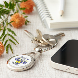 Clark Family Crest Coat of Arms Silver-Colored Oval Keychain