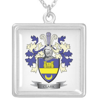 Clark Family Crest Coat of Arms Silver Plated Necklace