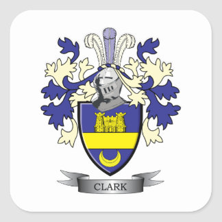 Clark Family Crest Coat of Arms Square Sticker
